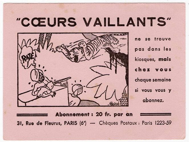 Buvard Coeurs Vaillants 20 Fcs - 1 - Tintin et les cigares du Pharaon
