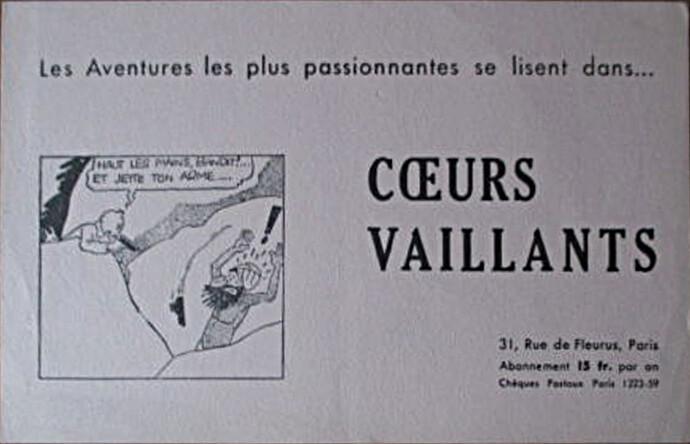 Buvard Coeurs Vaillants 15 Fcs - 2 - Tintin et les cigares du pharaon
