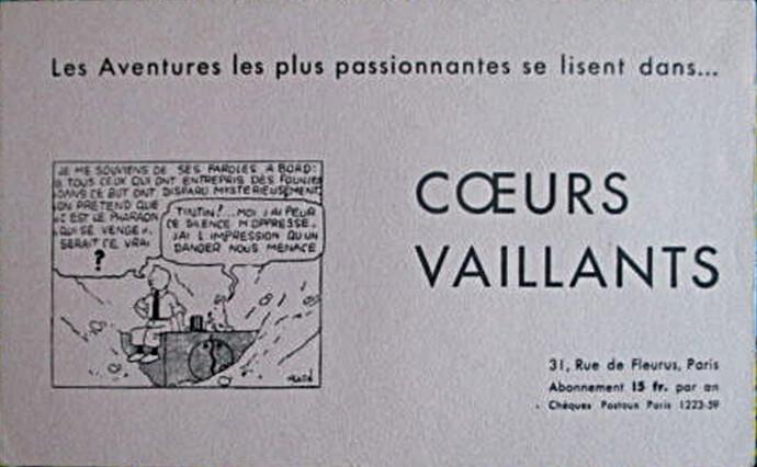 Buvard Coeurs Vaillants 15 Fcs - 1 - Tintin et les cigares du pharaon