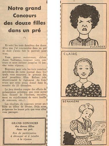 Ames Vaillantes 1937 - n°4 - Concours des douze filles dans un pré - 30 décembre 1937 - page 3