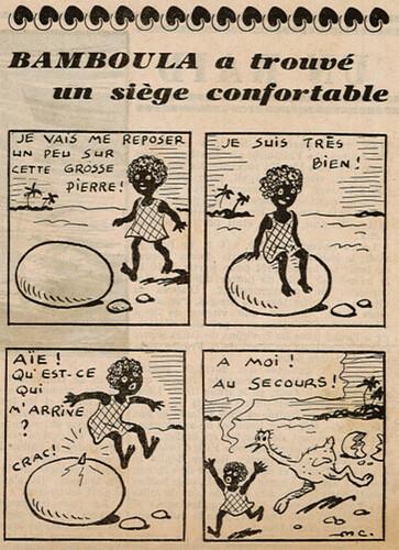 Ames Vaillantes 1938 - n°22 - page 7 - Bamboula a trouvé un siège confortable - 2 juin 1938