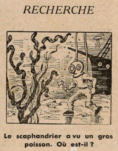 Ames Vaillantes 1938 - n°25 - page 5 -  Recherche - Le scaphandrier a vu un gros poisson - 23 juin 1938