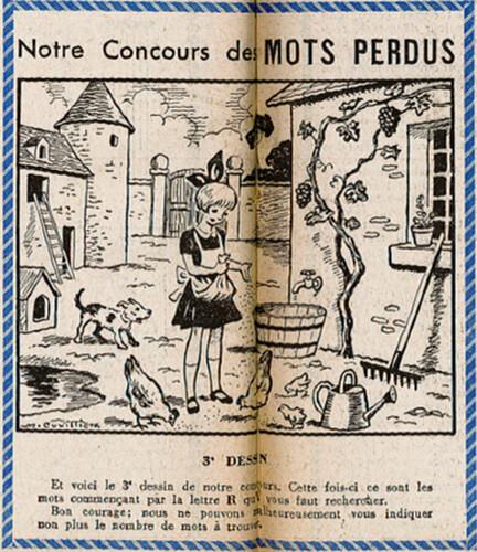 Ames Vaillantes 1938 - n°36 - pages 4 et 5 - Concours des Mots Perdus (3e dessin) - 8 septembre 1938