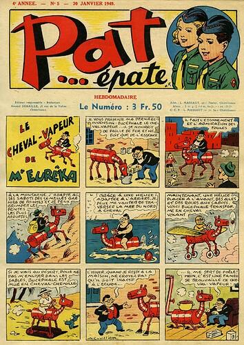 Pat épate 1949 - n°5 - page 1 - Le cheval-vapeur de Mr Eurêka - 30 janvier 1949