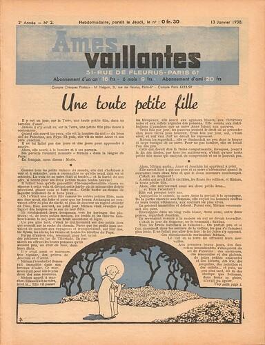 Ames Vaillantes 1938 - n°2 - 13 janvier 1938 - page 1