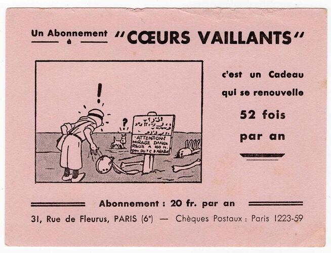 Buvard Coeurs Vaillants 20 fcs - 2 - Tintin et les cigares du Pharaon