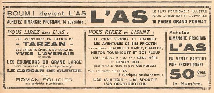 BOUM 1937 - n°22 - page 5 - Annonce de l'AS - 11 novembre 1937
