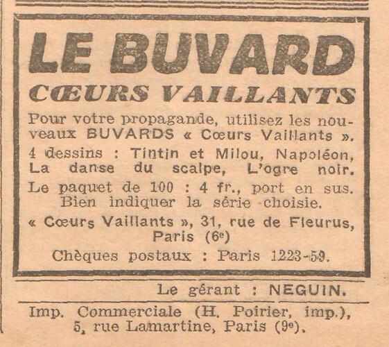 Coeurs Vaillants 1935 - n°46 - page 7 - Buvard Coeurs Vaillants - 17 novembre 1935