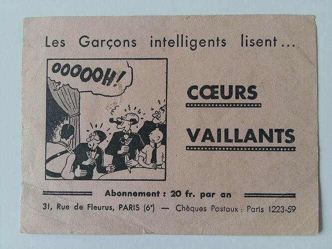 Buvard Coeurs Vaillants de 1934 avec Tintin et les cigares du Pharaon (1)