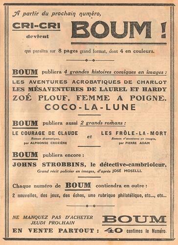 Cri-Cri 1937 - n°976 - Annonce de la fin de Cri-Cri et de la parution de BOUM ! - 10 juin 1937 - page 15