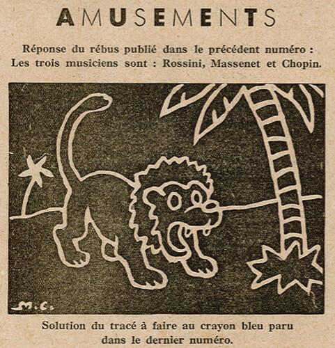 Ames Vaillantes 1938 - n°26 - page 8 - Solutions du Rébus et du tracé pour le lion - 30 juin 1938
