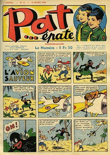 Pat épate 1949 - n°11 - page 1 - L'avion sauveur - 13 mars 1949