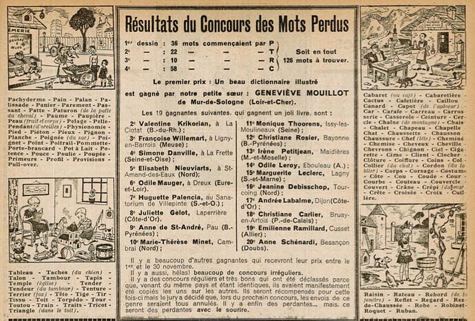 Ames Vaillantes 1938 - n°44 - page 7 - Résultats du Concours des Mots Perdus - 3 novembre 1938