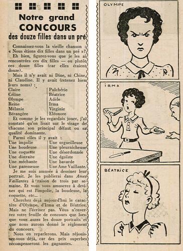 Ames Vaillantes 1937 - n°1 - Concours des douze filles dans un pré -8 décembre 1937 - page 2