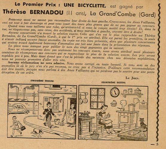 Ames Vaillantes 1938 - n°29 - page 5 - 1er prix du concours - 21 juillet 1938