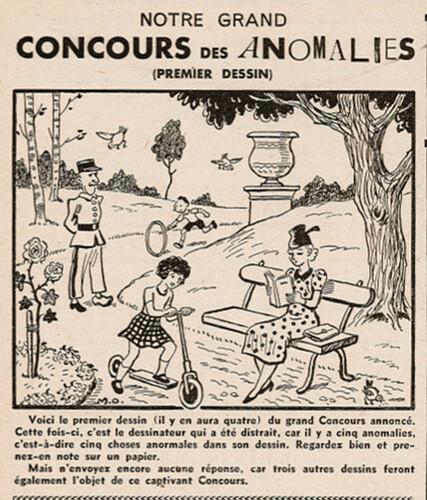 Ames Vaillantes 1938 - n°19 - page 6 - Grand Concours des Anomalies (1er dessin) - 12 mai 1938