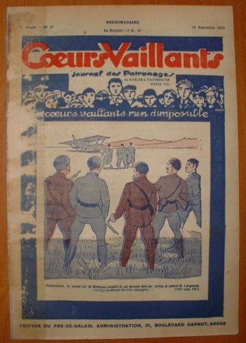 Coeurs Vaillants - Journal des Patronages 1929 - n°37 - édition du Pas-de-Calais