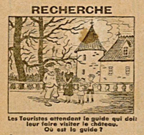Ames Vaillantes 1938 - n°25 - page 2 - Recherche - Les touristes attendent le guide - 23 juin 1938