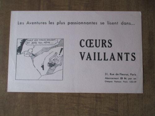 Buvard Coeurs Vaillants avec Tintin (1)