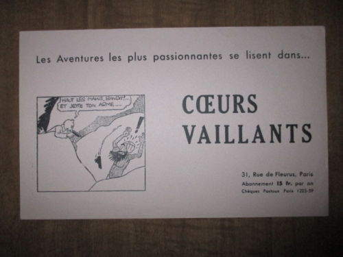 Buvard Coeurs Vaillants avec Tintin (4)