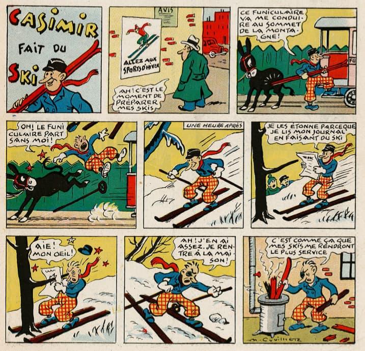 Pat épate 1948 - n°48 - page 1 - Casimir fait du ski - 28 novembre 1948