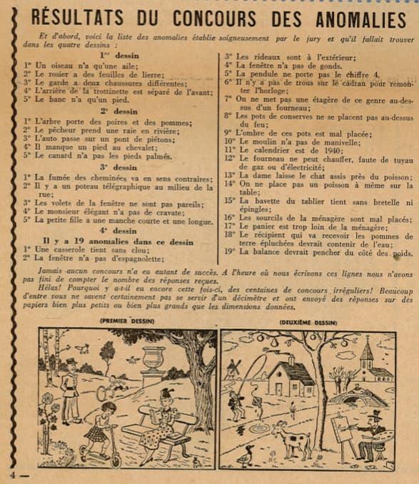 Ames Vaillantes 1938 - n°29 - page 4 - Résultats du concours des anomalies - 21 juillet 1938