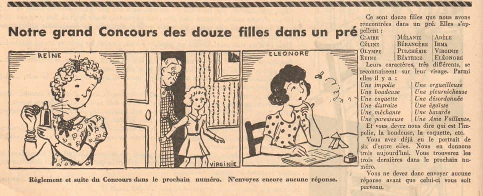 Ames Vaillantes 1937 - n°3 - Concours des douze filles dans un pré - 23 décembre 1937 - page 3